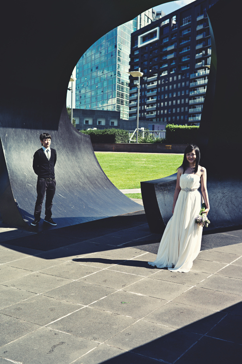 Melbourne CBD couple engagement