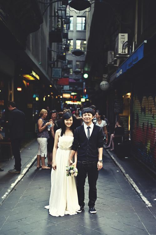 Melbourne CBD wedding couple