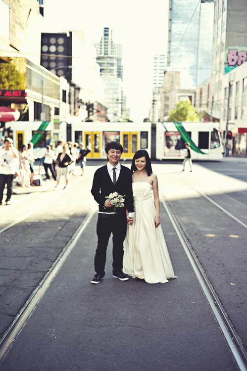 Melbourne CBD engagement shot