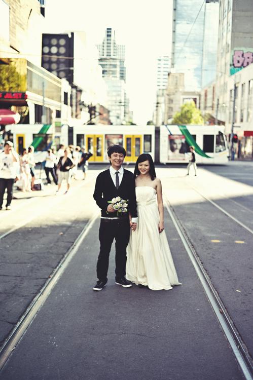 Melbourne CBD engagement shot
