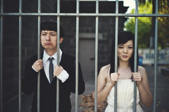 Melbourne CBD engaged couple