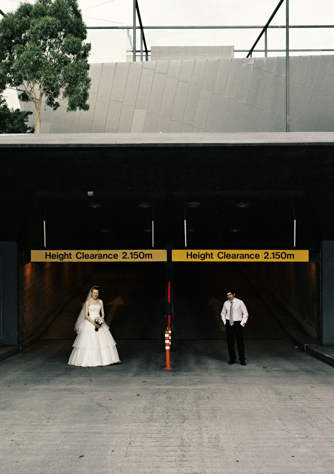 Wedding couple car park Melbourne Museum
