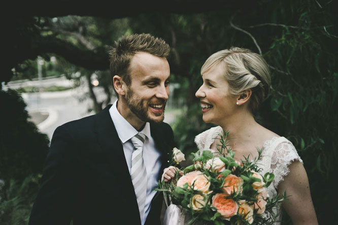 Bride and groom smiling in Lorne wedding
