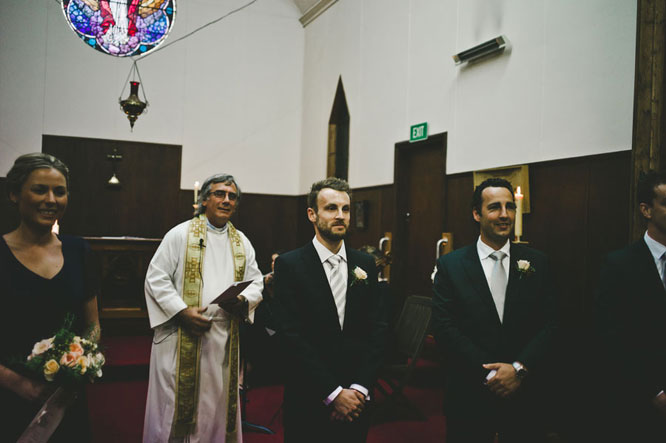 Groom waiting in Lorne church