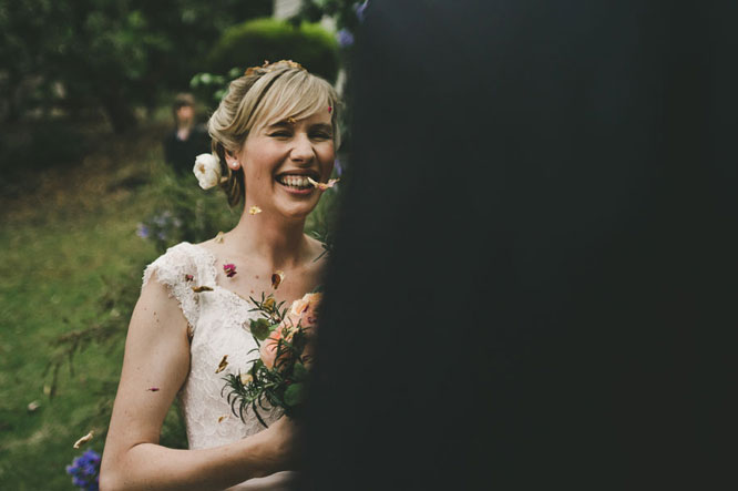 Bride smiling in Lorne wedding