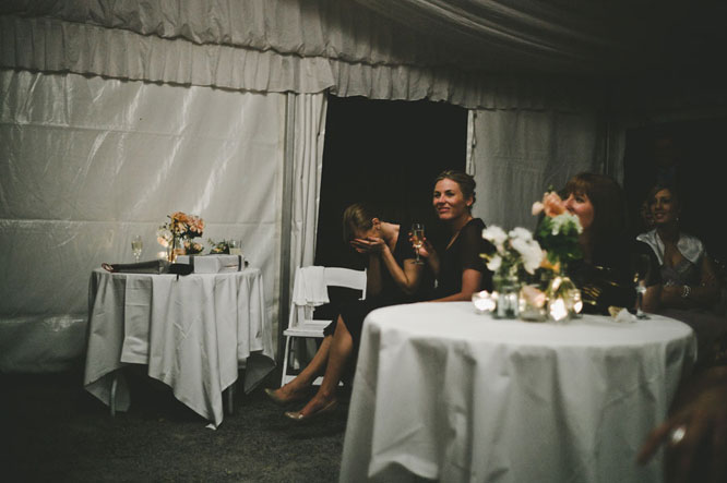 Bride maids laughing at Lorne wedding speech