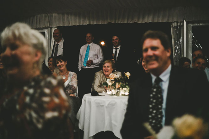 Guests laughing at Lorne wedding speech