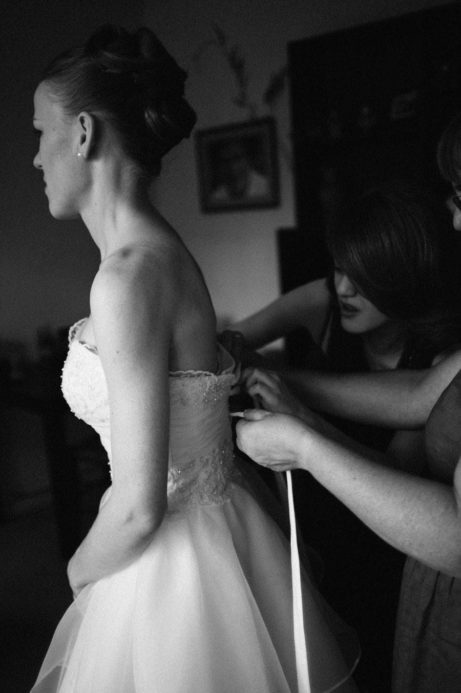 Close up of bridal dress in Melbourne