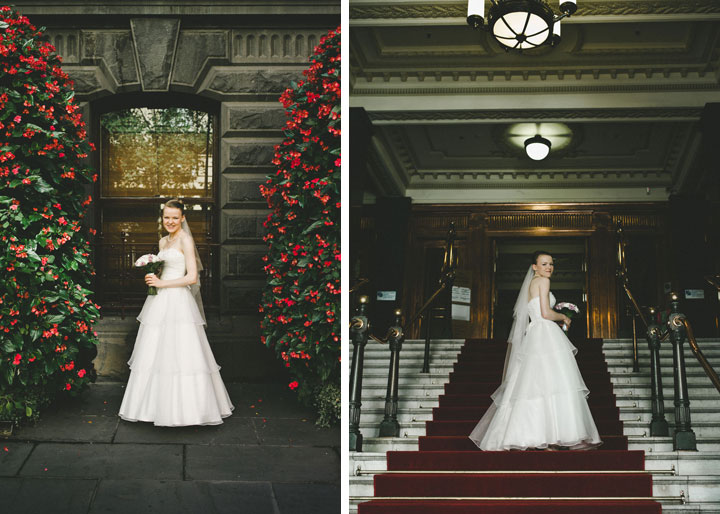 Bride posing in front of Melbourne city hall