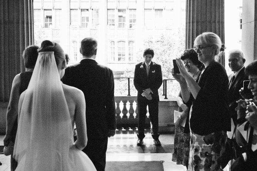 Groom's first look at bride
