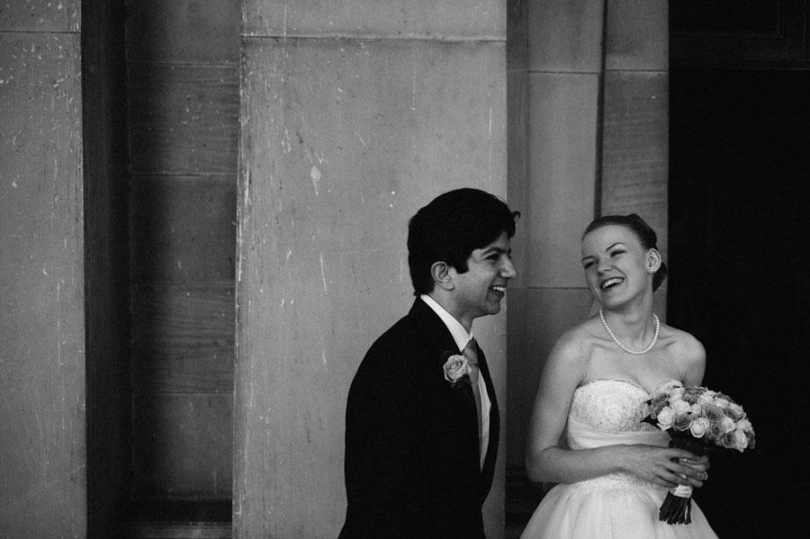 Bride and groom smiling after Melbourne wedding ceremony