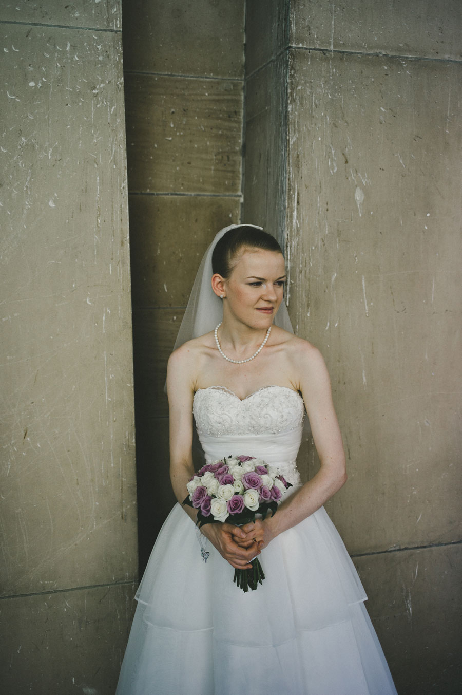 Bride looks on at Melbourne city hall