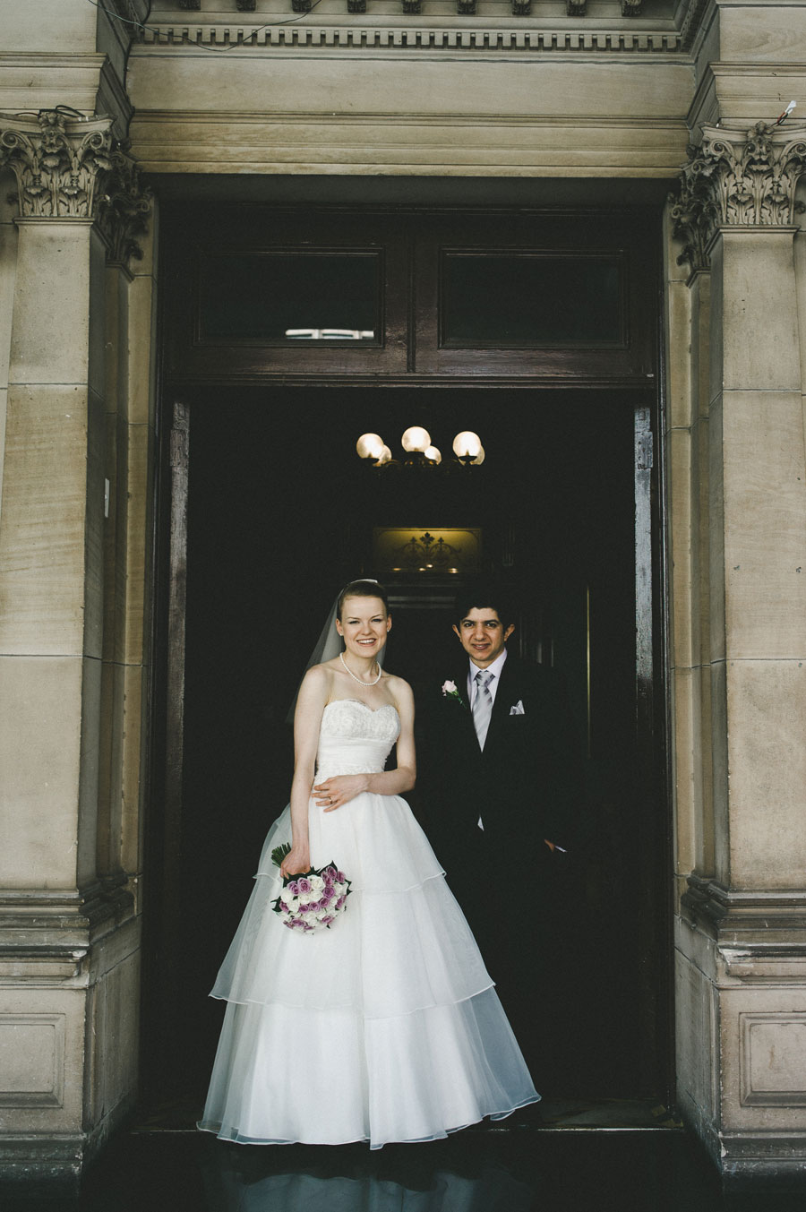 Bride and groom portrait at Melbourne city hall