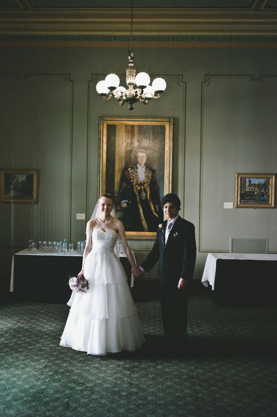 Bride and groom portrait inside Melbourne city hall