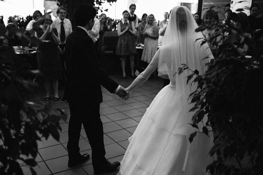 Guests greeting bride and groom at Bar Italia Lygon
