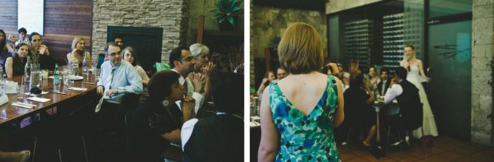Wedding bride giving a speech at Bar Italia Carlton