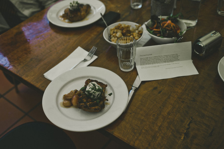 Food next to a written speech in Bar Italia Carlton