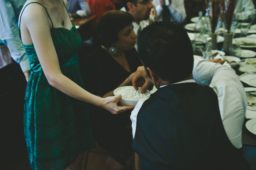 Guest receiving traditional wedding candy at Bar Italia Melbourne