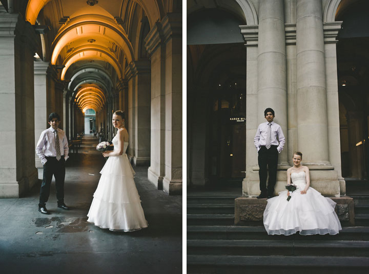 Bride and groom posing at GPO Melbourne