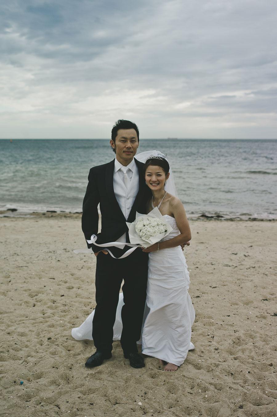 Wedding couple at Brighton Beach