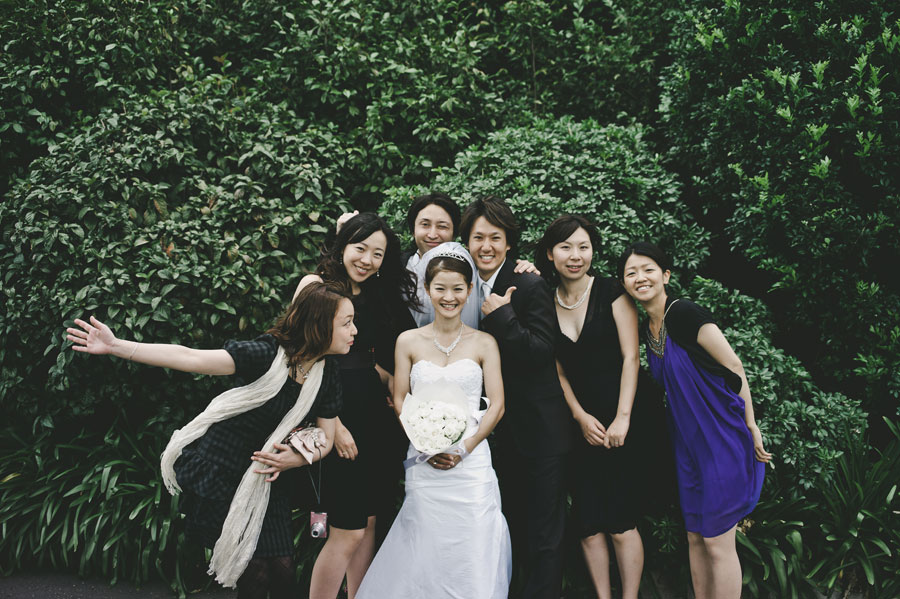Wedding group shot with bride