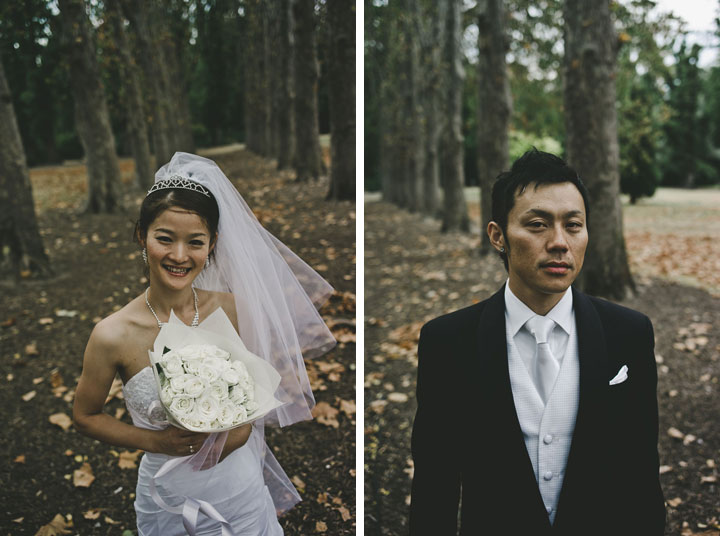 Portrait of bride and groom at Fitzroy Garden