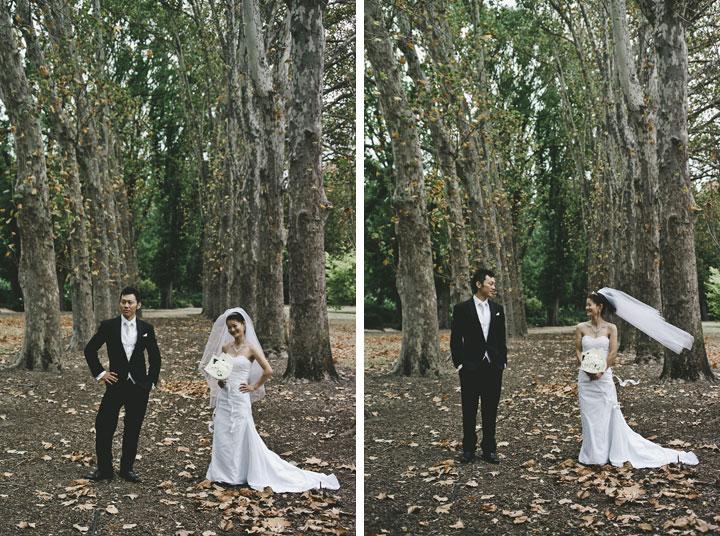 Wedding couple at Fitzroy Garden