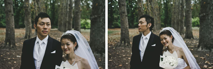 Close up for wedding couple in Fitzroy Garden