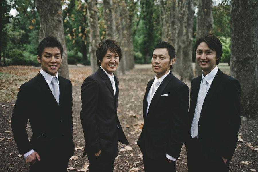 Melbourne groomsmen at Fitzroy Garden