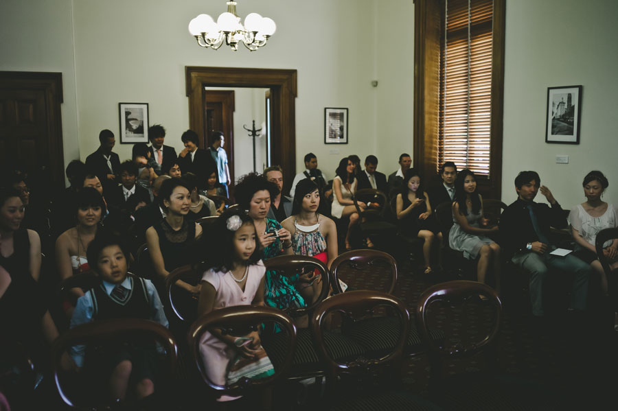 Wedding guests waiting in Old Treasury Building Melbourne