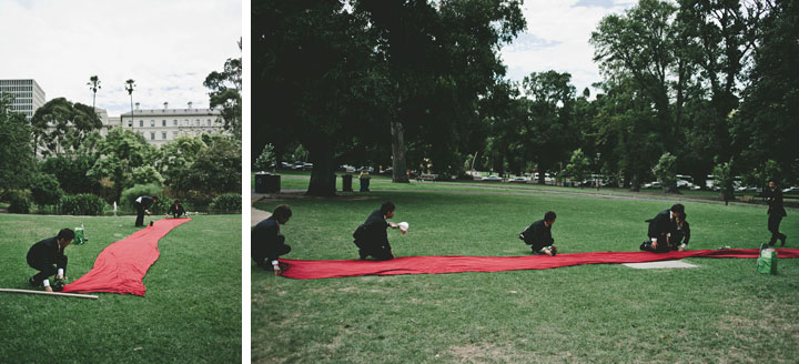 Setting up red carpet in Treasury Garden