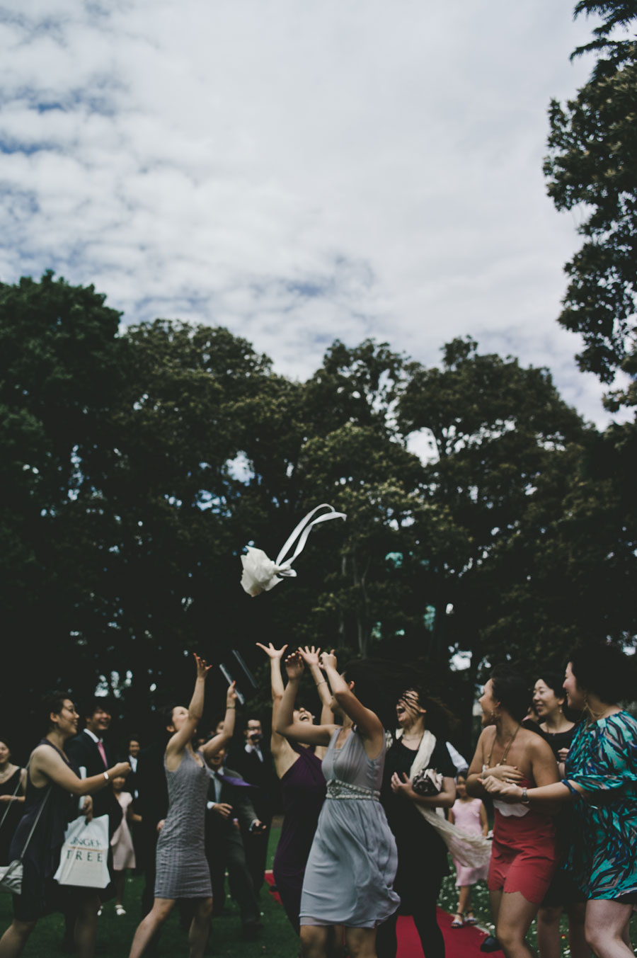 Melbourne wedding bouquet toss Treasury Garden