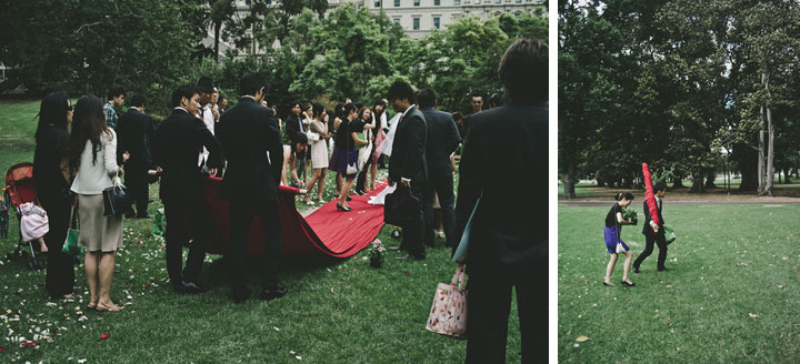 Rolling up the wedding red carpet Treasury Garden