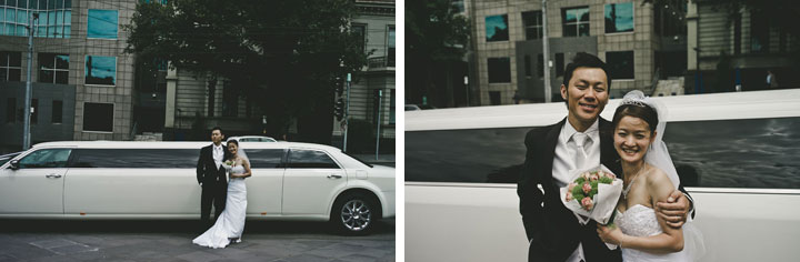 Melbourne wedding Japanese couple in front of white limo