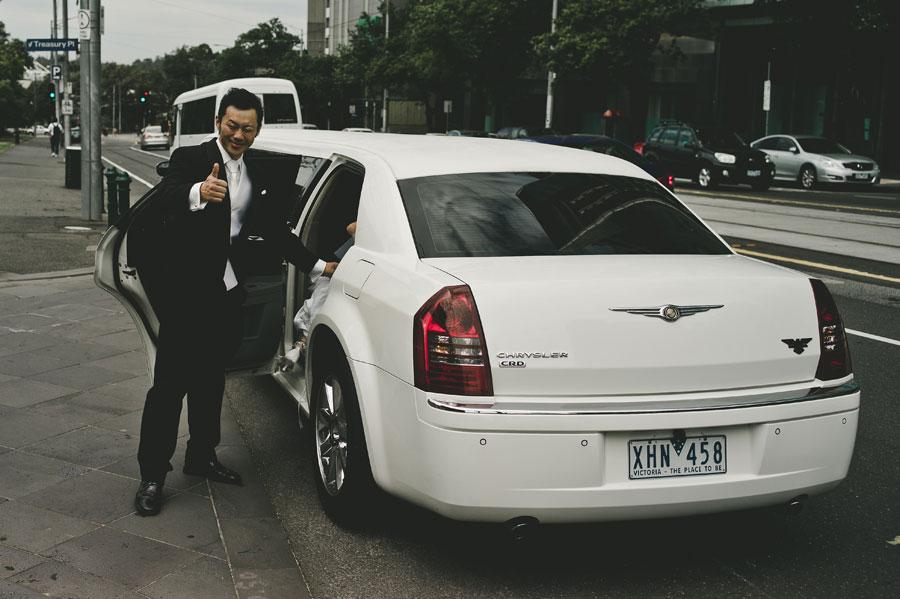 Groom getting into wedding car Melbourne