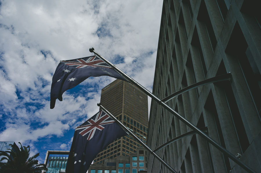 Australian flag on Melbourne wedding day