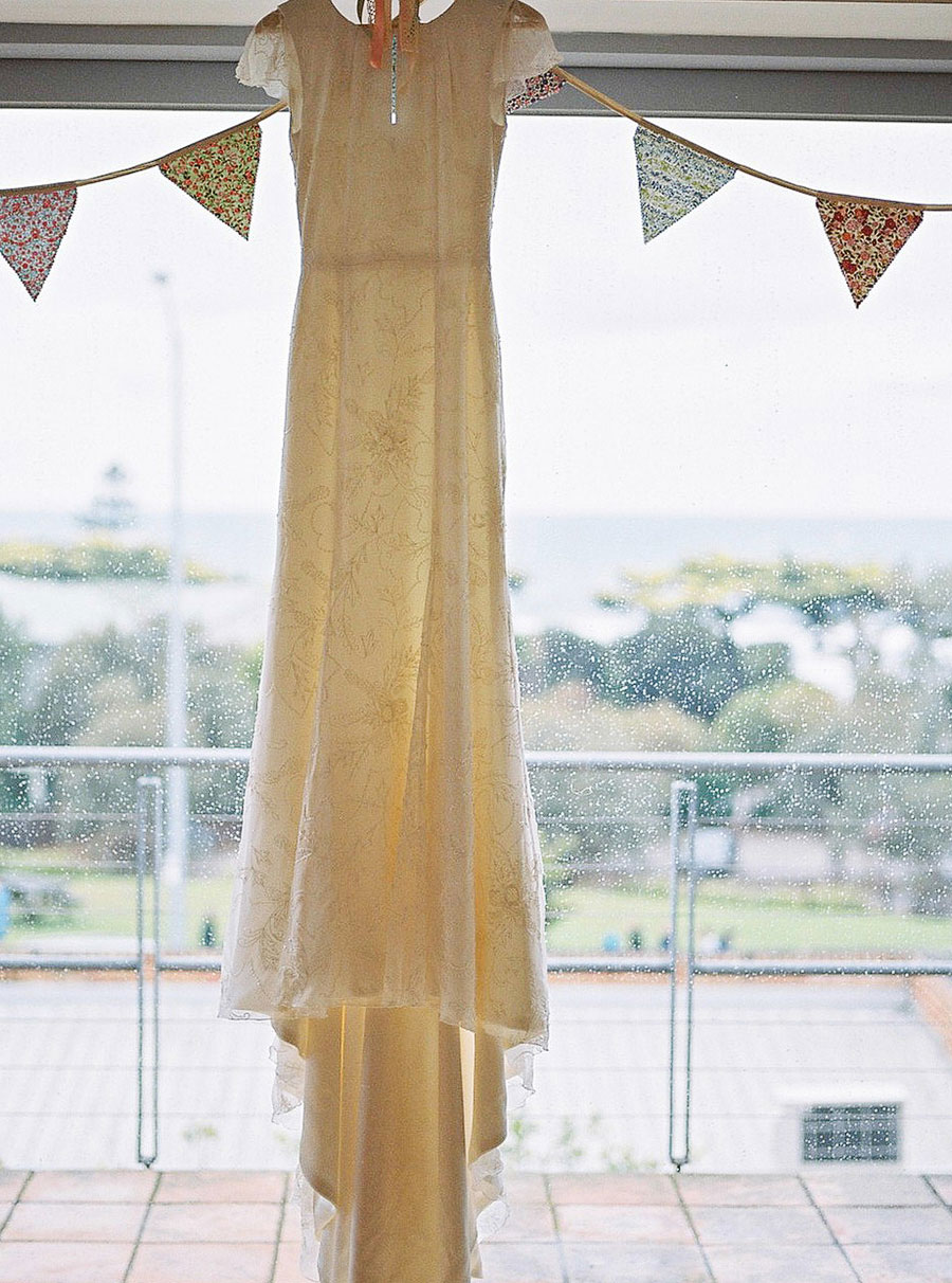 Lorne wedding dress photographed against window
