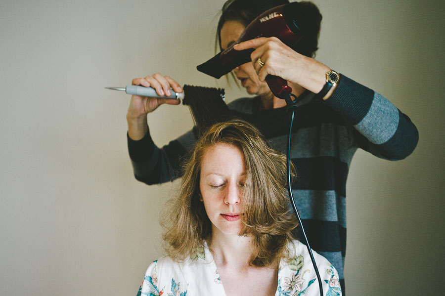 Lorne wedding - bride's hair getting done