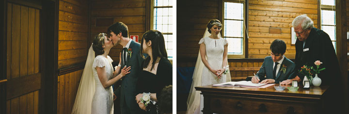 Signing the wedding certificate - St Cuthberts Church, Lorne