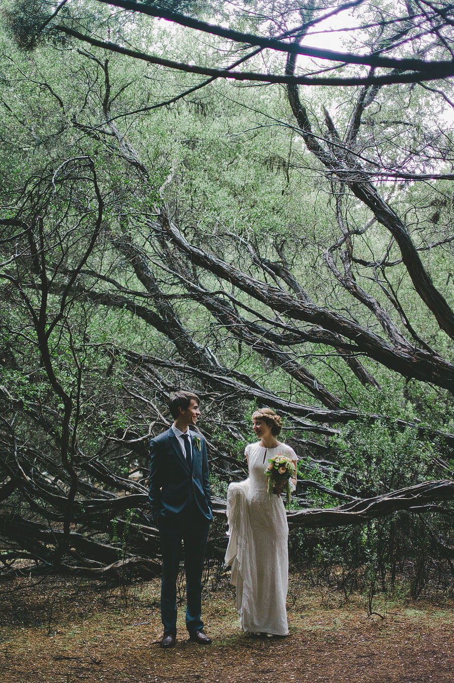 Bride and groom in the woods - Lorne, Melbourne