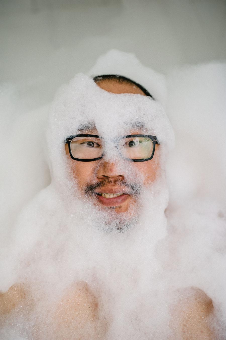 Bubbly bath portrait