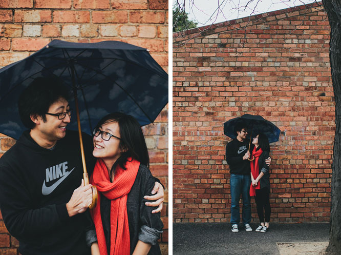 Couple under tibor kalman umbrella