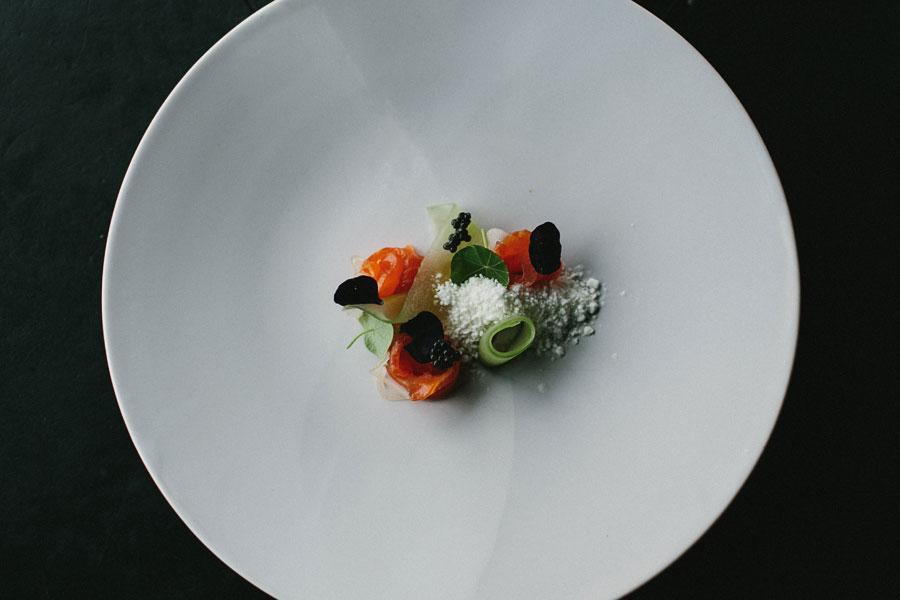 Trout belly, smoked eel, wasabi snow at Vue De Monde Melbourne