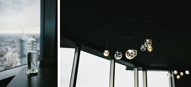 Water bottle and light bulbs at Vue De Monde Melbourne