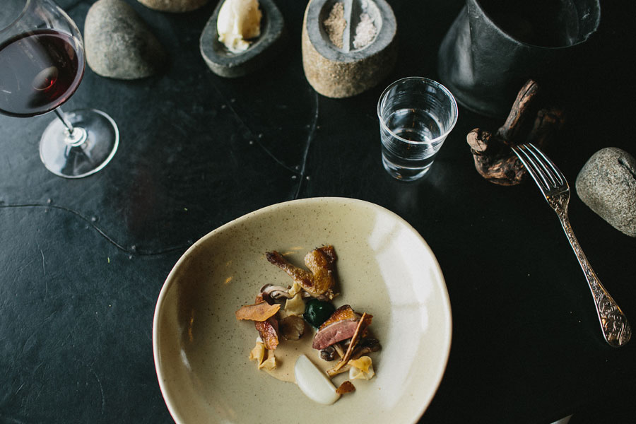Pigeon, artichoke, mushroom, parsley, hay at Vue De Monde Melbourne