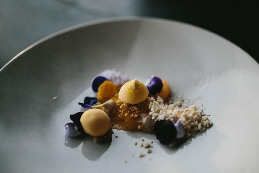 Mandarin, vanilla, violet dessert at Vue De Monde Melbourne