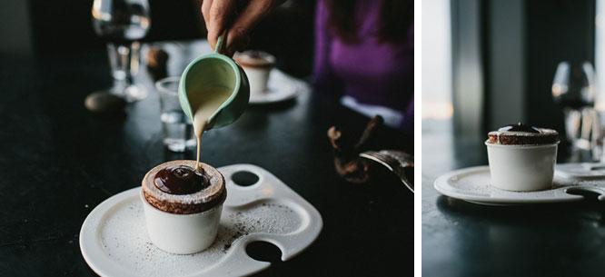 Chocolate souffle, chocolate mousse, creme anglaise at Vue De Monde Melbourne