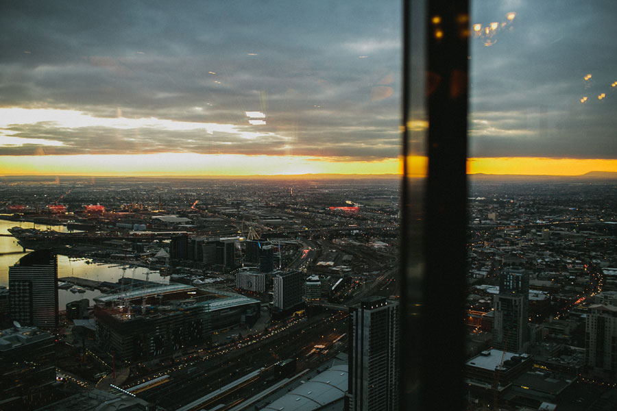 Sunset view from at Vue De Monde Melbourne