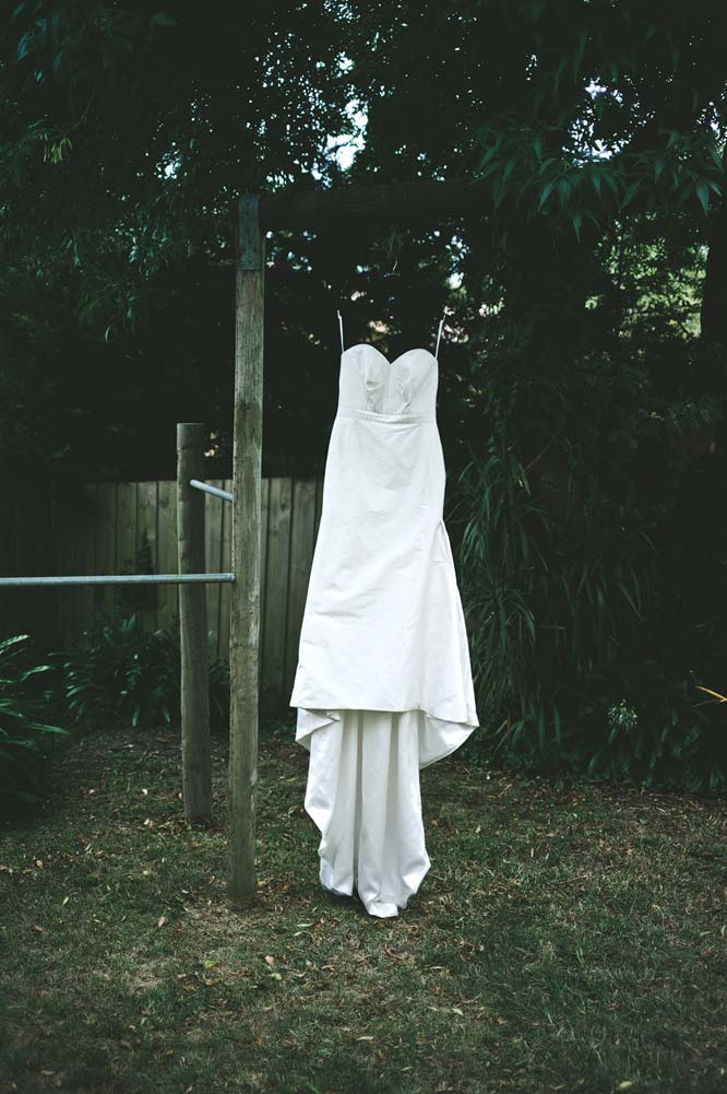 Wedding dress in backyard Melbourne