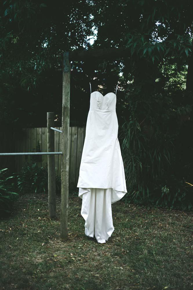 Wedding dress in backyard Melbourne